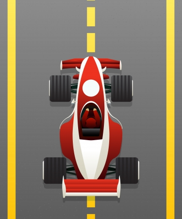 Red racing car on the track
