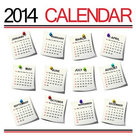 白い背景に対して 2014年カレンダー  イラスト・ベクター素材