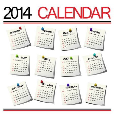 2014 Calendar against white background Vector
