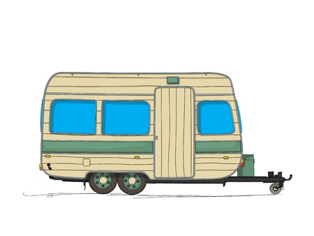 Caravan cartoon drawing against white background Illustration