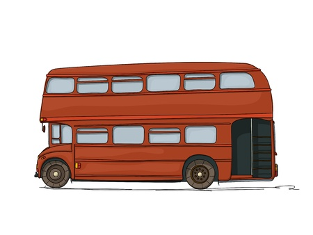 decker: Double decker London bus cartoon drawing on white background