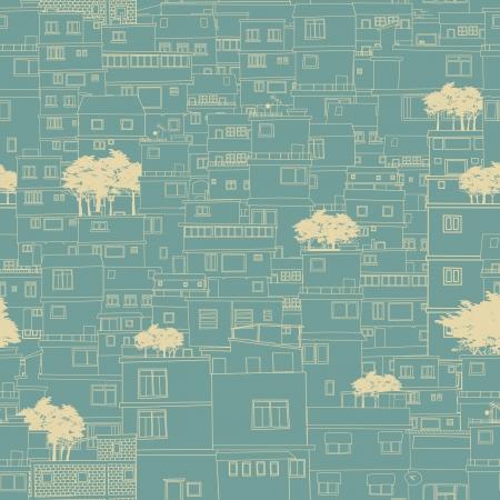 roof tile: Seamless city sketch blueprint like pattern
