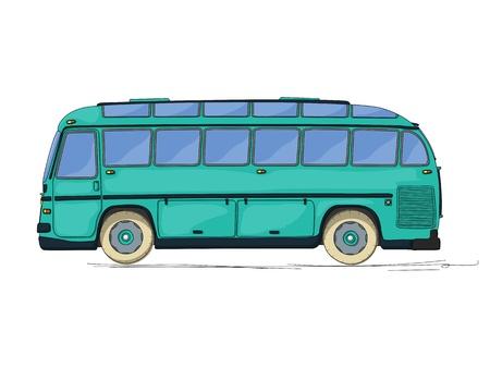 bus anglais: Bus de la ville, dessin anim� style vintage sur fond blanc