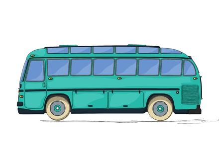 coach bus: Vintage style city bus, cartoon drawing over white background Illustration