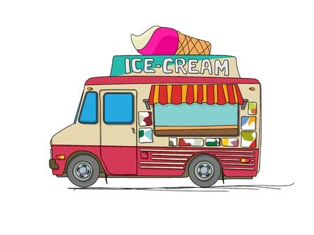 white cream: Ice cream truck cartoon drawing over white