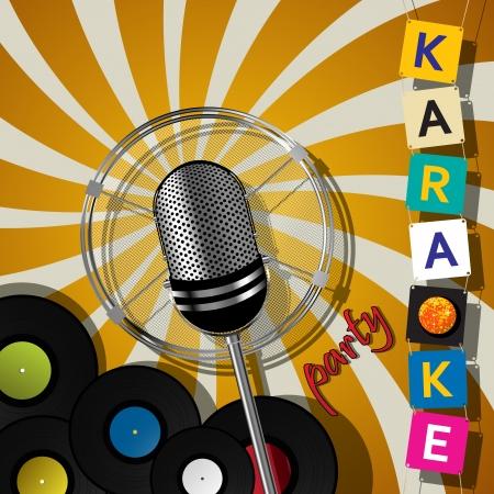 Partij kaart met microfoon voor karaoke evenementen