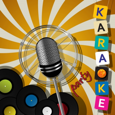 vintage mic: Party card with microphone for karaoke events Illustration