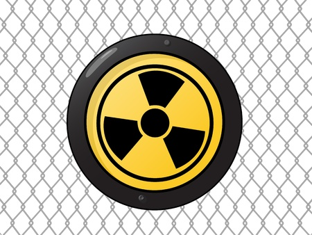 plutonium: Metallic nuclear sign against a wire fence Illustration