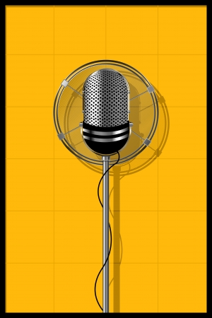 retro microphone: Illustration of a old microphone