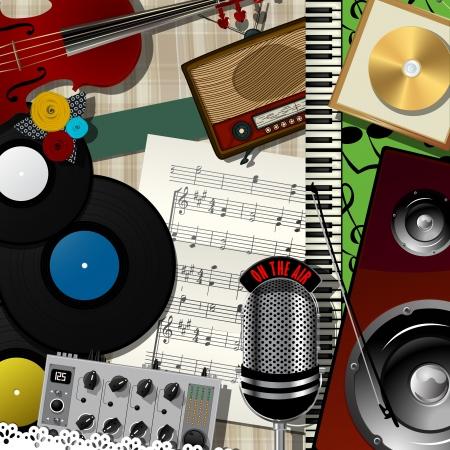 音楽のコラージュ、抽象芸術のイラスト デザイン