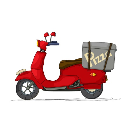 Pizza delivery scooter cartoon over white Vector