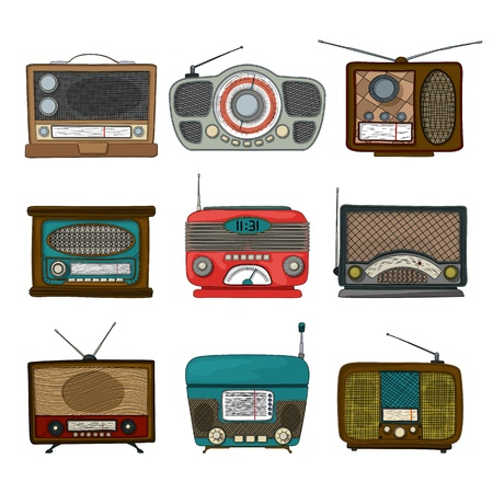Retro radio icon set over white background Vector
