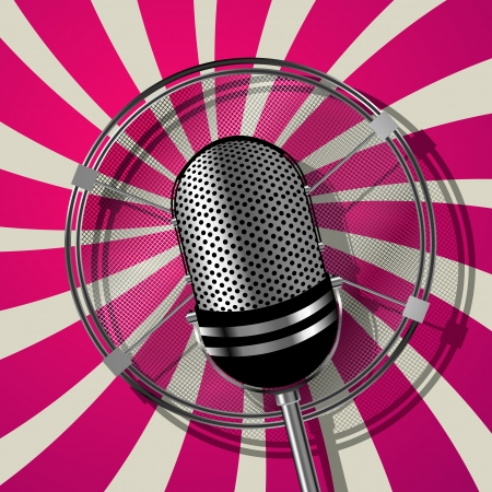Retro style microphone illustration, graphic art