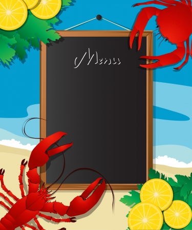 lobster: Sea food menu frame with crab and lobster, design template can be used for menu cover, flyer, sign etc. Illustration