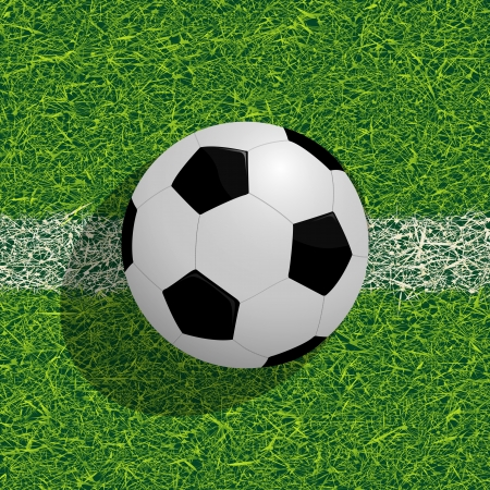 sward: Realistic soccer ball on the field, football background Illustration