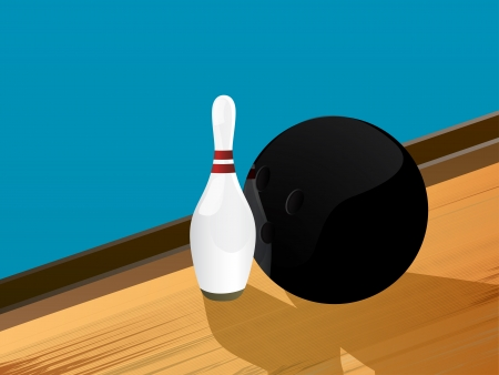 skittle: Illustration of a bowling ball and pin on the alley