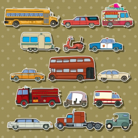 mini bus: Cars and transportation sticker set, cartoon illustration