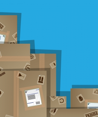 moving office: Pile of cardboard boxes illustration with copy paste