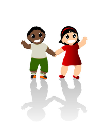 waving hand: Boy and girl holding hands Illustration
