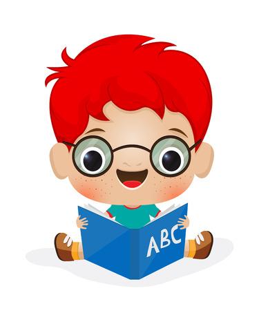 Illustration of a school boy reading 일러스트