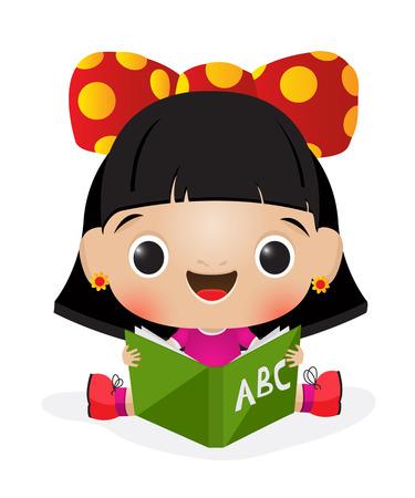 Illustration of a schoolgirl reading 일러스트