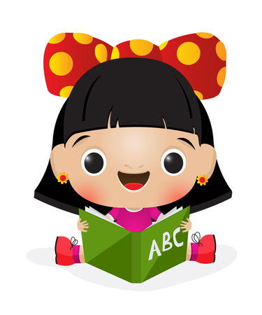 Illustration einer Schülerin Lesung Standard-Bild - 22198085