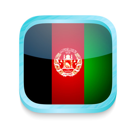 afghanistan: Smart phone button with Afghanistan flag