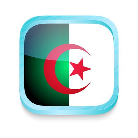 algeria: Smart phone button with Algeria flag