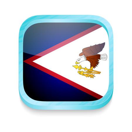 samoa: Smart phone button with American Samoa flag