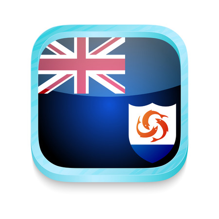 Smart phone button with Anguilla flag Vector