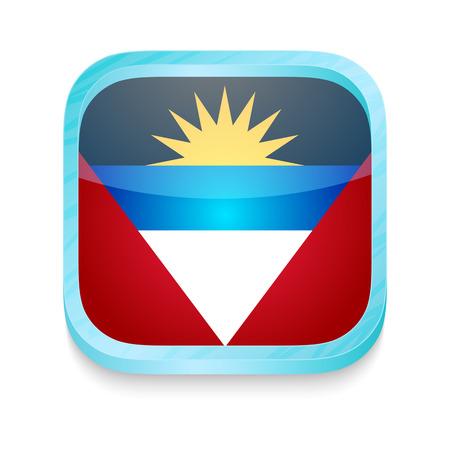 barbuda: Smart phone button with Antigua and Barbuda flag