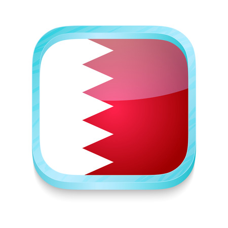Smart phone button with Bahrain flag Vector