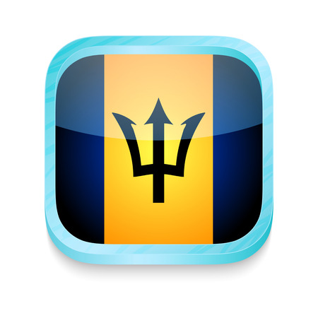 Smart phone button with Barbados flag Vector