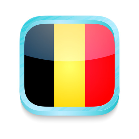 Smart phone button with Belgium flag Stock Vector - 22198111