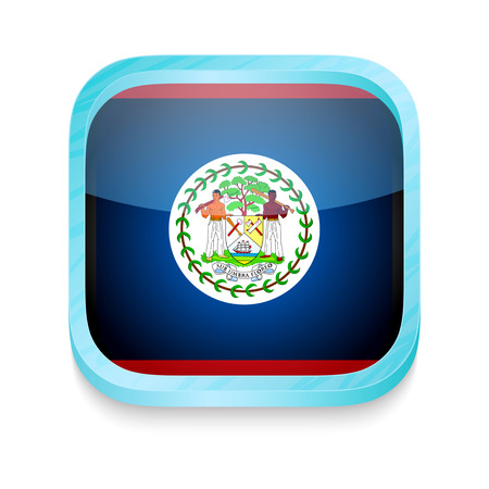 belize: Smart phone button with Belize flag