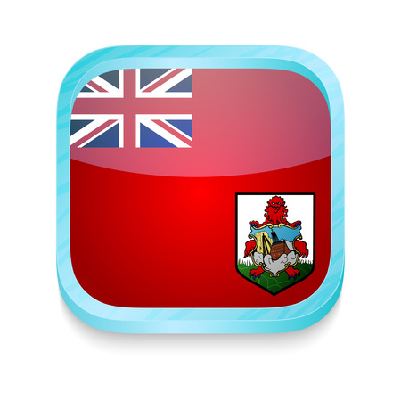 Smart phone button with Bermuda flag Vector