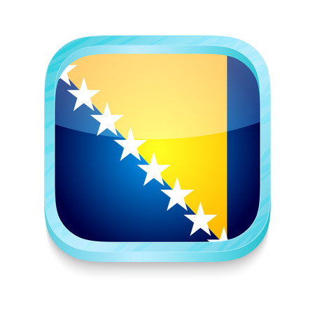 Smart phone button with Bosnia and Herzegovina flag Vector
