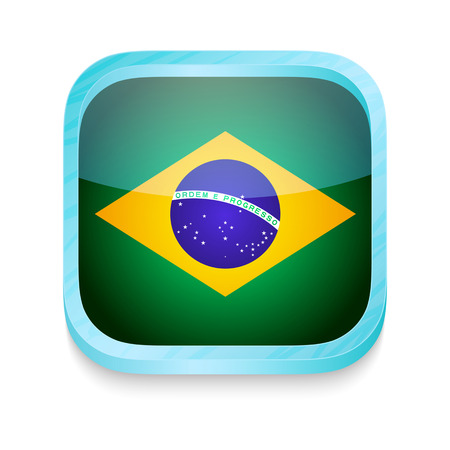 Smart phone button with Brazil flag Vector