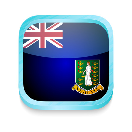 Smart phone button with British Virgin Islands flag Vector