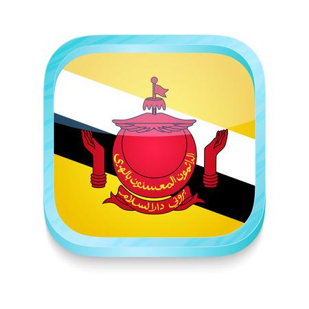 brunei: Smart phone button with Brunei flag