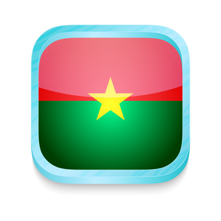 Smart phone button with Burkina Faso flag Vector