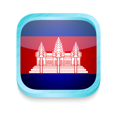 Smart phone button with Cambodia flag Vector