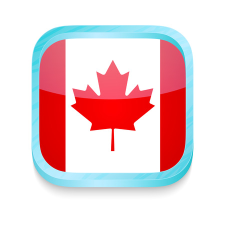 Smart phone button with Canada flag Vector