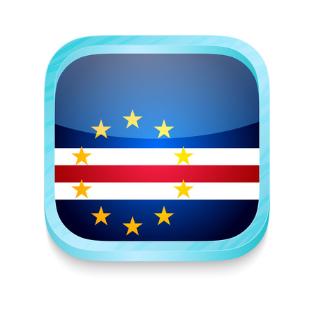 Smart phone button with Cape Verde flag Vector