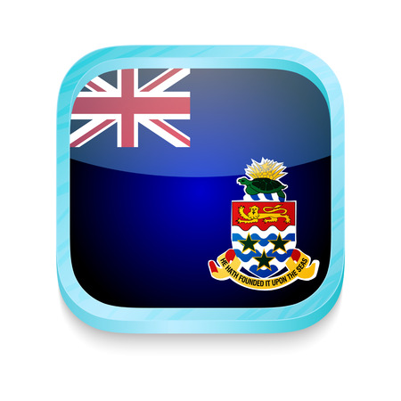 cayman: Smart phone button with Cayman Islands flag