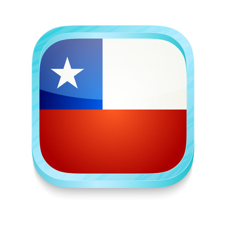 Smart phone button with Chile flag Vector
