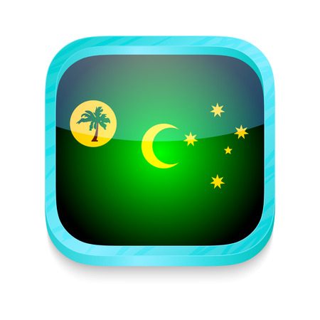 Smart phone button with Cocos Island flag Vector