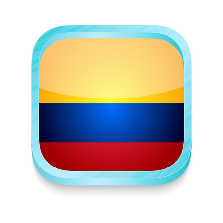 Smart phone button with Columbia flag Vector