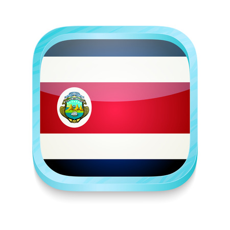 bandera de costa rica: Botón del teléfono inteligente con bandera de Costa Rica Vectores