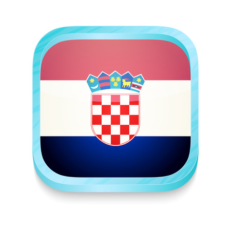 bandera de croacia: Botón del teléfono inteligente con la bandera de Croacia